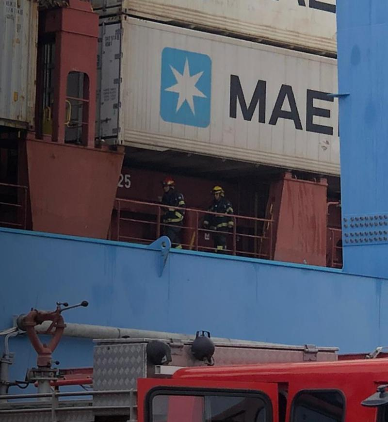 דליפת חומרים מסוכנים בנמל חיפה (צילום: דוברות כבאות והצלה)