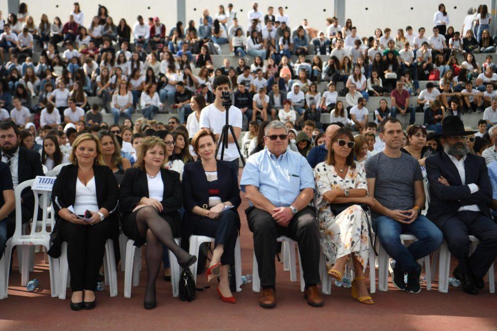 """מאות אורחים השתתפו בטקס חנוכת המבנה החדש של בית הספר העירוני """"חוגים"""" (צילום: ראובן כהן, דוברות עיריית חיפה)"""