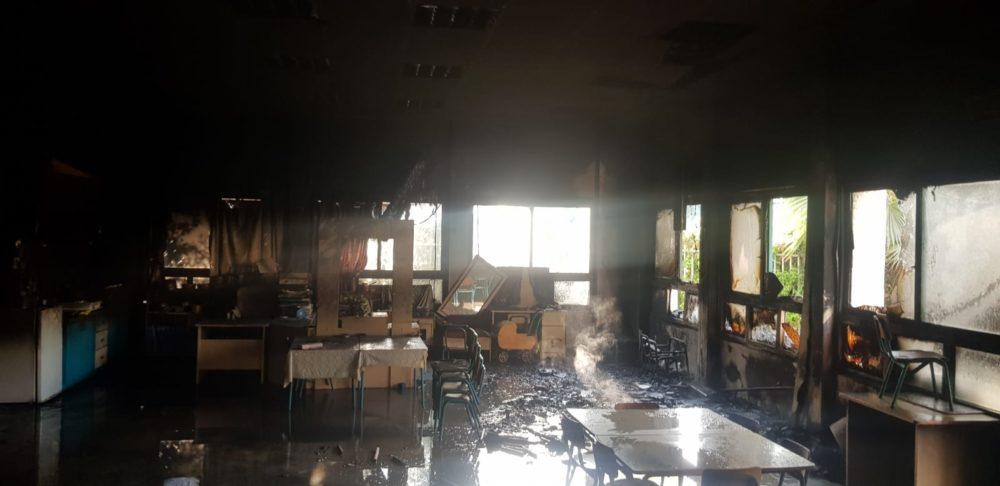 שריפה בגן ילדים בכפר זבידאת שברמת טבעון (צילום כבאות והצלה)