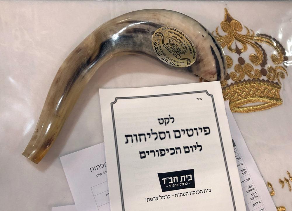 שופר - תקיעת השופר של הרב יהודה גינזבורג נעלה את הצום בחיפה (צילום: ירון כרמי)