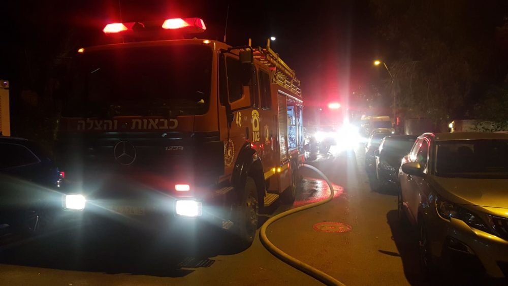 כבאית - שריפת חורש ברחובות משה סנה וגרשון שופמן בשכונת דניה בחיפה (צילום: לוחמי האש)