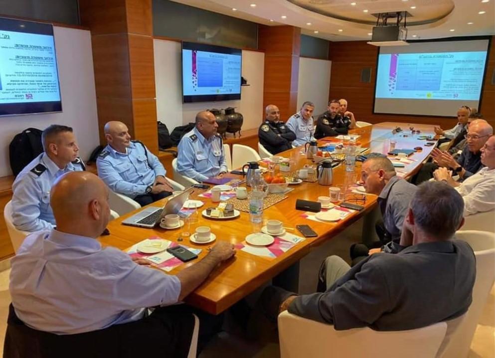 """מערך האבטחה ברמב""""ם חיפה ומשטרת ישראל (צילום: דוברות רמב""""ם)"""