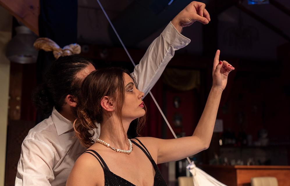 """יובל ברזלי וויאם ח'אטר בהצגה """"מי מפחד מוירג'יניה וולף"""" - תאטרון הסטודיו (צילום: ירון כרמי"""