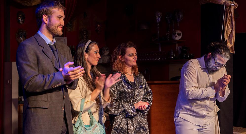 """וויאם ח'אטר, יובל ברזלי, ניצן בן דוד ועמית נאור בהצגה """"מי מפחד מוירג'יניה וולף"""" - תאטרון הסטודיו (צילום: ירון כרמי"""