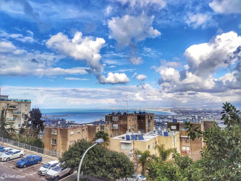 השמים מתבהרים בחיפה עם שוך הסערה (צילום: גלעד שטיין - סטודיו עין חדה)