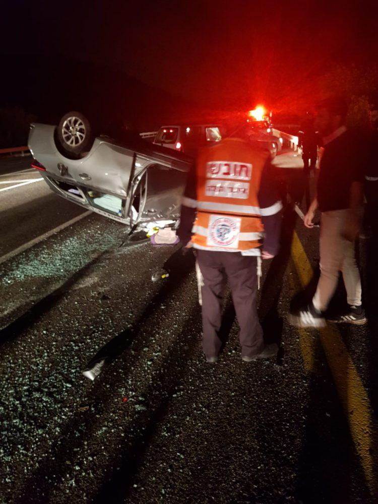 שלושה כלי רכב שפגעו בפרה • רכב התהפך על גגו (צילום: איחוד הצלה)