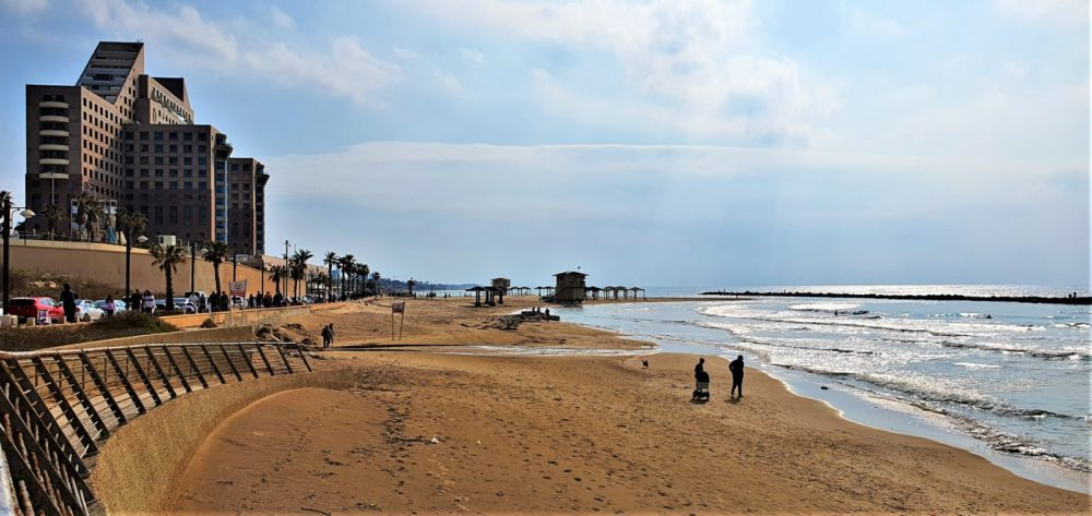 יום שבת אביבית נפלאה בלב החורף בחוף דדו בחיפה (צילום: נילי בנו)