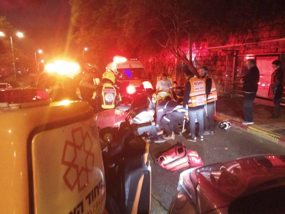 שליח פיצה בן 18 נפצע באורח בינוני בתאונת קטנוע בחיפה (צילום: איחוד הצלה)