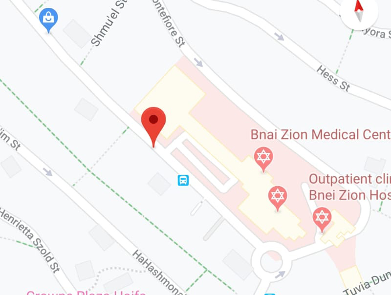 בורות בכביש בסמוך לבית החולים בני ציון - מפה