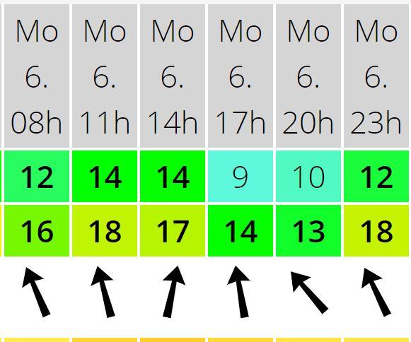 תחזית כיוון הרוח ומהירות הרוח במהלך יום הנישוב השני - 06/01/2020