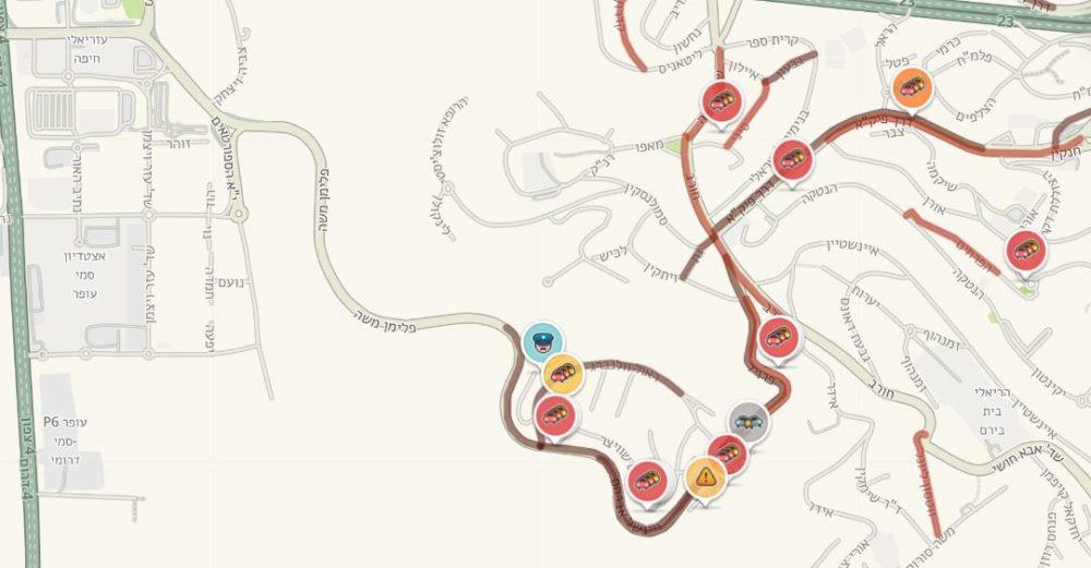 תאונת דרכים בפרויד - עומסי תנועה חריגים במקום (צילום: מתוך waze)