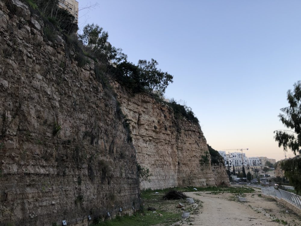 מצוקים מסוכנים מתחת לשכונת ורדיה • נחל הגיבורים בחיפה (צילום: ירון כרמי)