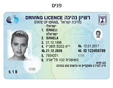 רישיון נהיגה להמחשה (צילום: משרד התחבורה)