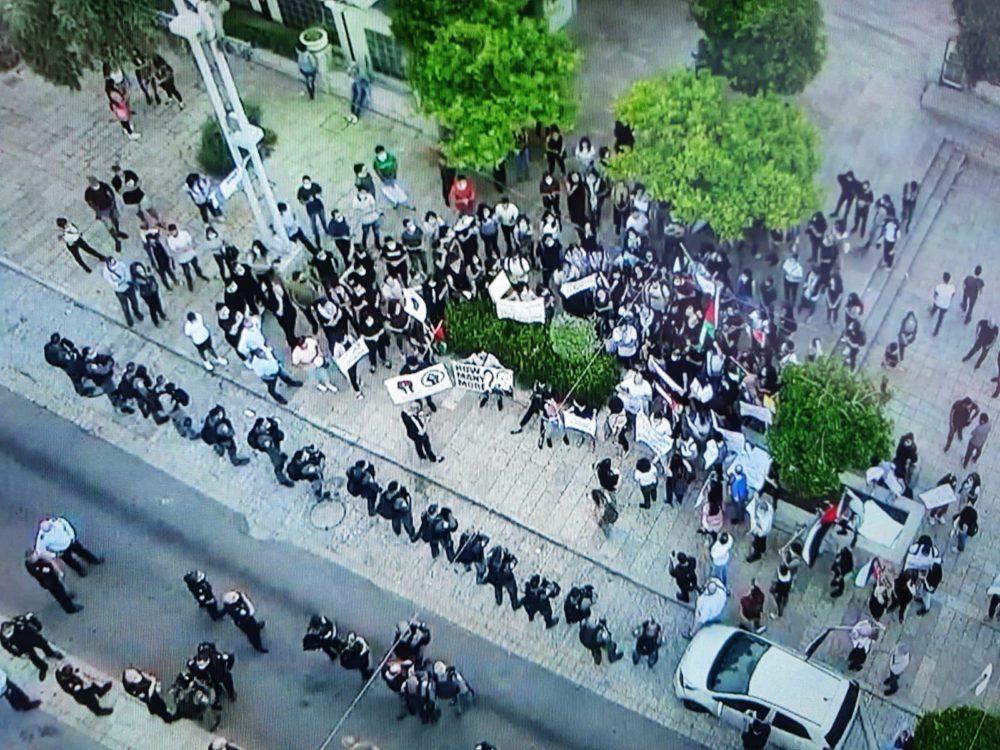 הפגנה במושבה הגרמנית (צילום: משטרת ישראל)