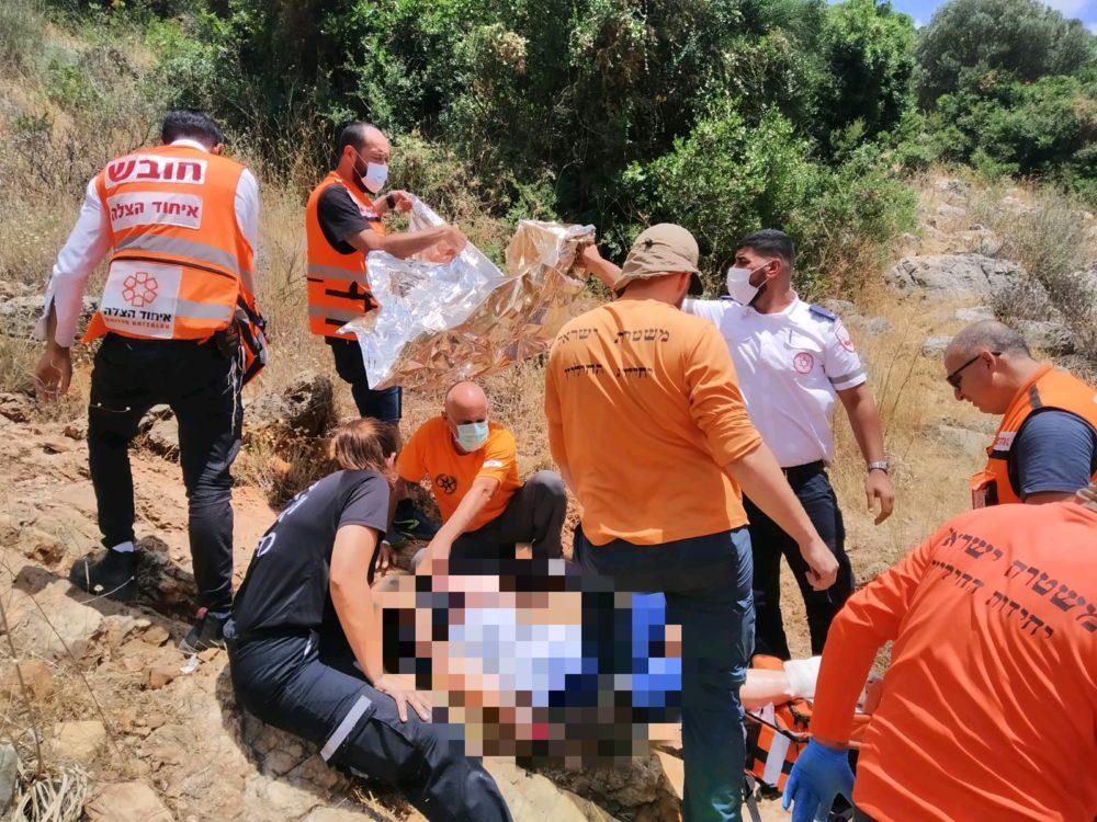 חילוץ אשה מנחל יגור (צילום: איחוד הצלה)