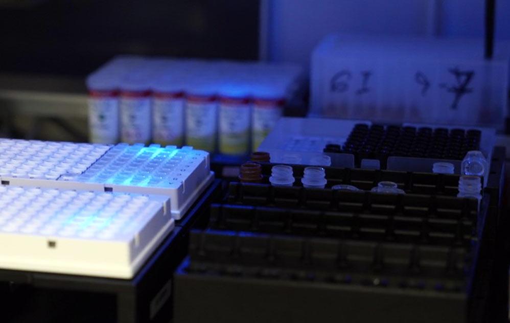 מכשיר לבדיקת קורונה במעבדות כללית בנשר (צילום: ירון כרמי)