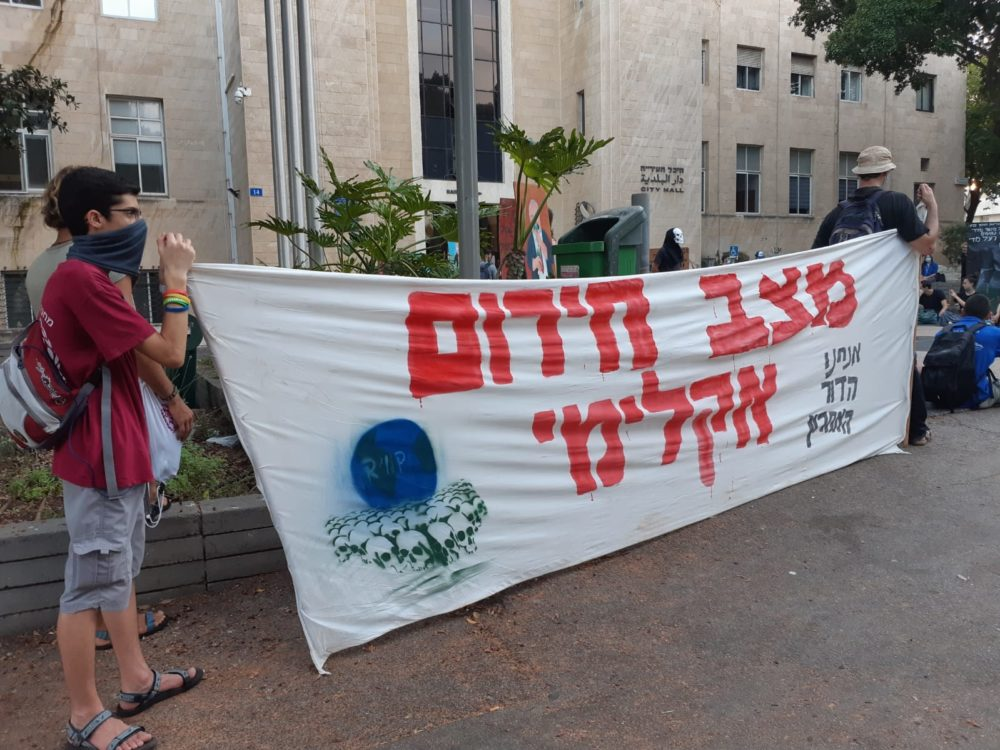 פעילי איכות סביבה בהפגנה - הלוויה לכדור הארץ | הפגנה מול עיריית חיפה (צילום: טלי מילוא)