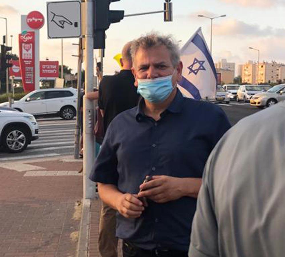 """ח""""כ ניצן הורוביץ בהפגנה בצומת מקסים בחיפה (צילום: ליאת מולכו)"""