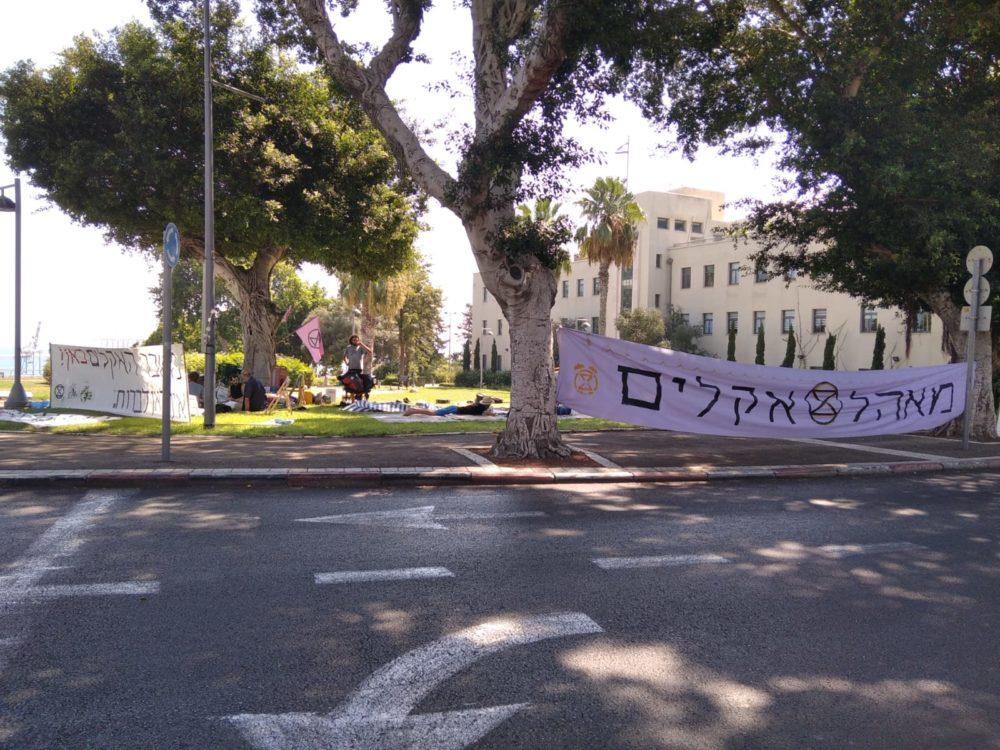 """מאהל המחאה של פעילי """"המרד בהכחדה"""" (צילום: אלונה שרף ושקד ארד)."""