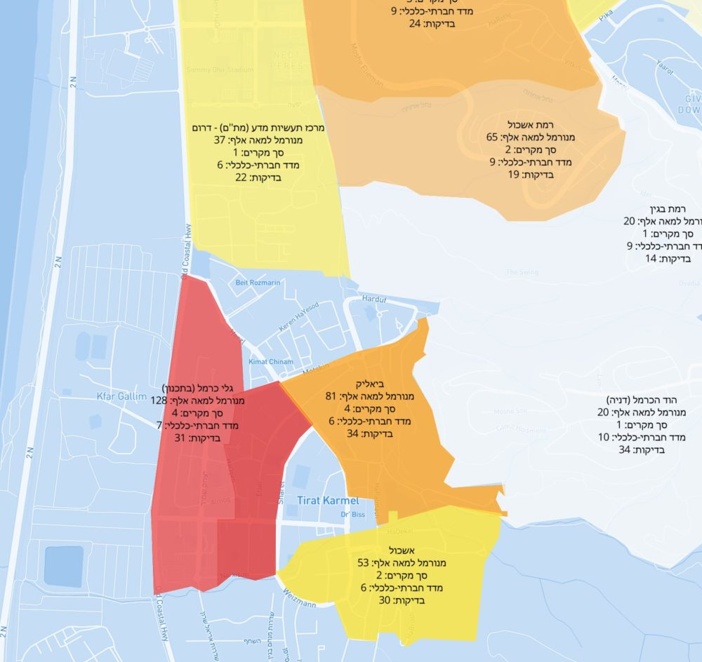 """רמת אשכול מת""""ם, דניה, טירת כרמל • מפת קורונה לפי שכונות בחיפה והסביבה – נתוני 9/9/20"""