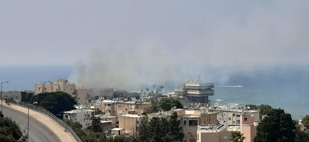 שרפת קוצים בשכונת אין הים בחיפה (צילום: פדואה סרוג'י)