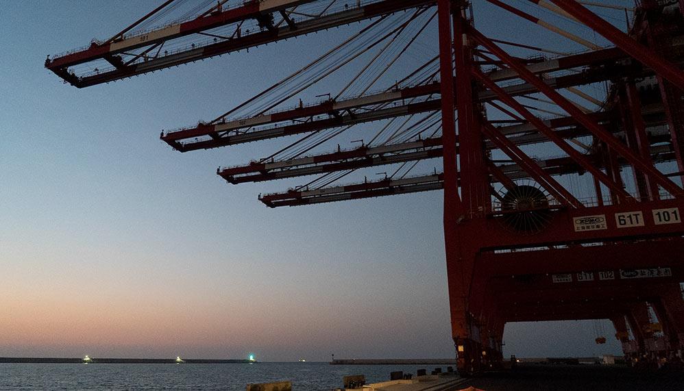 מנופים בנמל המפרץ - חיפה (צילום: ירון כרמי)
