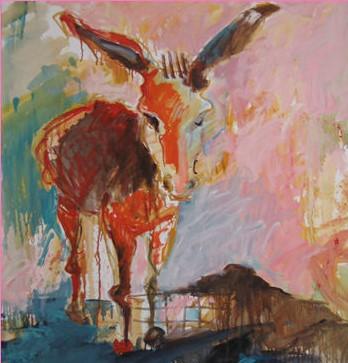 חמור אדום - שמן על בד | ציור של סילבי פרי יובל