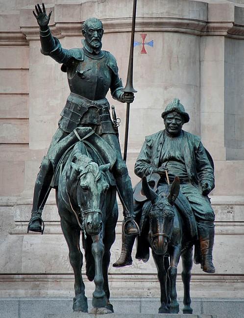 דון קיחוטה וסנשו פנשה • פסל  חוצות במדריד (צילום: נחלת הכלל)