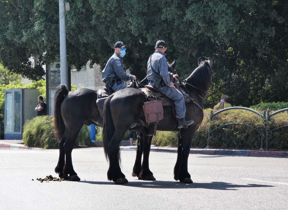 פרשים על סוסי משטרה מאבטחים את הפגנת הדגלים השחורים בחיפה בעת ביקור נתניהו (צילום: חי פה בשטח)