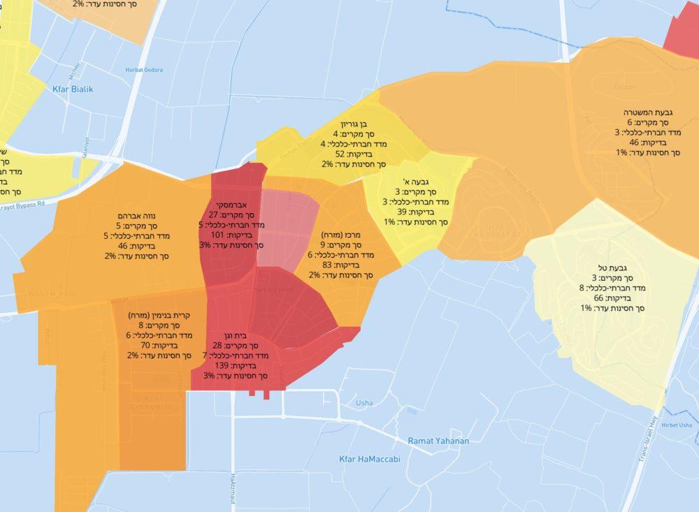 קריית אתא - אדום | מפת תחלואה בקורונה לפי שכונות בחיפה
