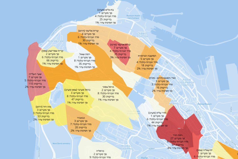 כרמל צפון-מערבי | מפת תחלואה בקורונה לפי שכונות בחיפה