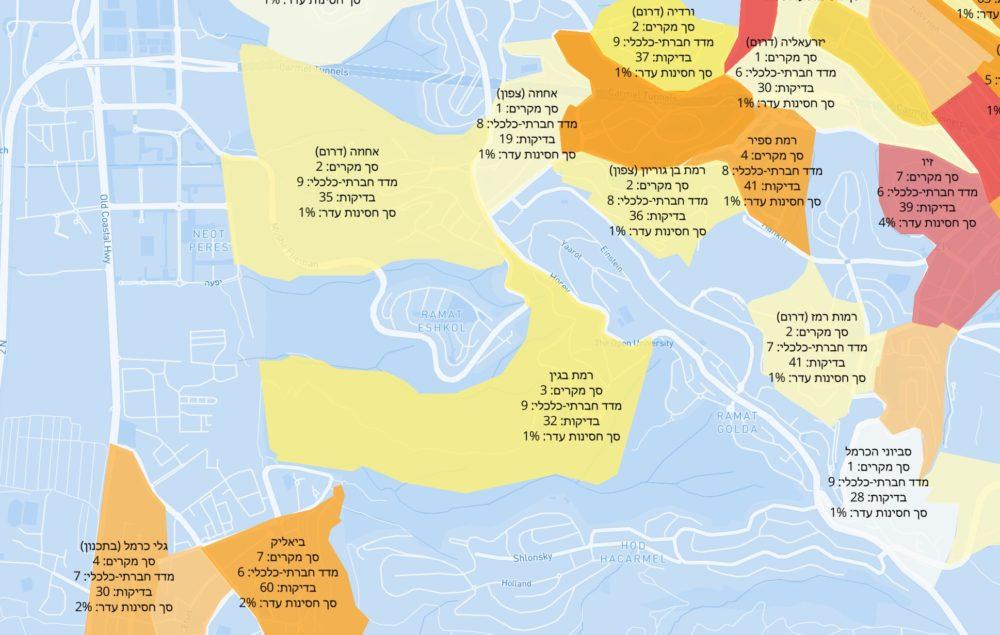 כרמל מערבי | מפת תחלואה בקורונה לפי שכונות בחיפה