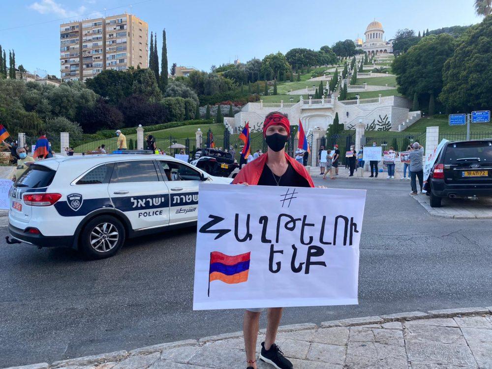 סרג׳ בידויאן - מחאת הארמנים בחיפה: אל תמכרו נשק לאזרביג'אן (צילום: סרג׳ בידויאן)