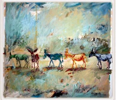 שיירת חמורי כל היבשות (ציור: סילבי יובל)