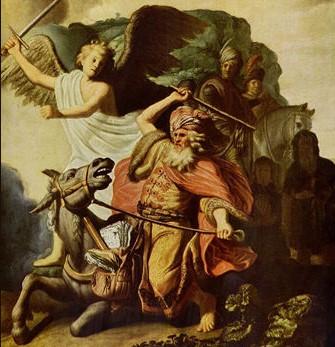 אתון בלעם והמלאך | ציור של רמברנט 1629 (צילום: נחלת הכלל)