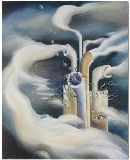 התיישבות בחלל - שמן על בד (ציור: דן לבני)