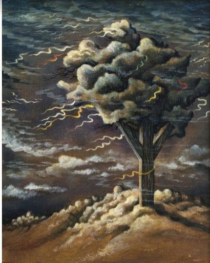 געגועים לעולם שחלף - טמפרה על עץ (ציור: דן לבני)