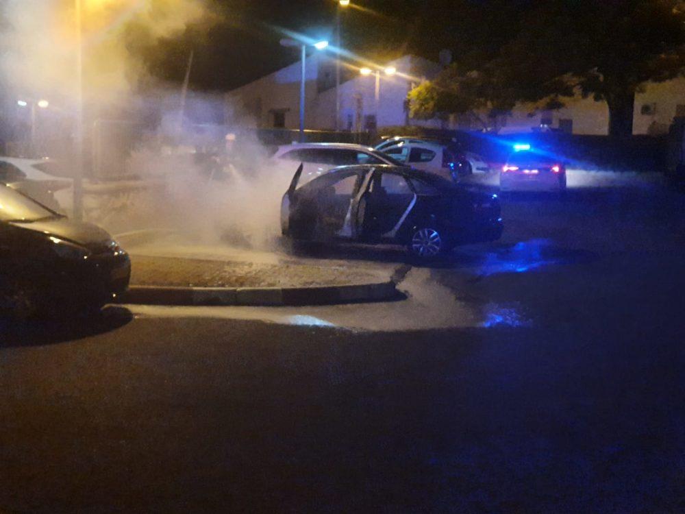 כיבוי רכב שעלה באש בנשר (צילום: כבאות והצלה)