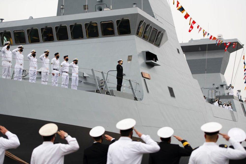 """אח""""י 'מגן' - ספינת הקרב המתקדמת מדגם סער 6 נמסרה לחיל הים הישראלי (צילום: דובר צה""""ל)"""