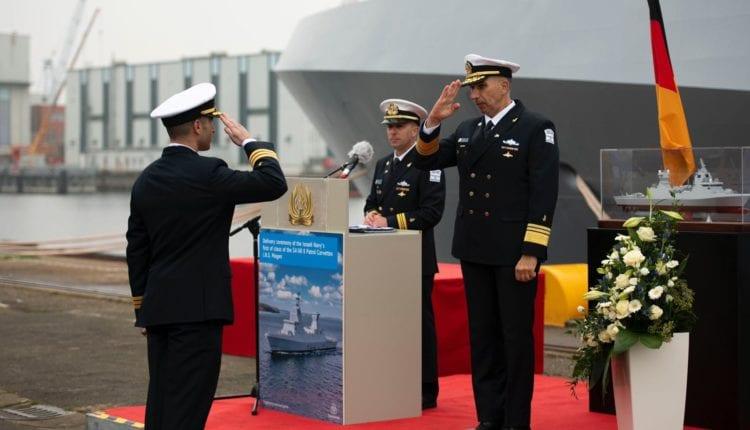 """אח""""י 'מגן' – ספינת הקרב המתקדמת מדגם סער 6 נמסרה לחיל הים הישראלי (צילום: דובר צה""""ל)"""