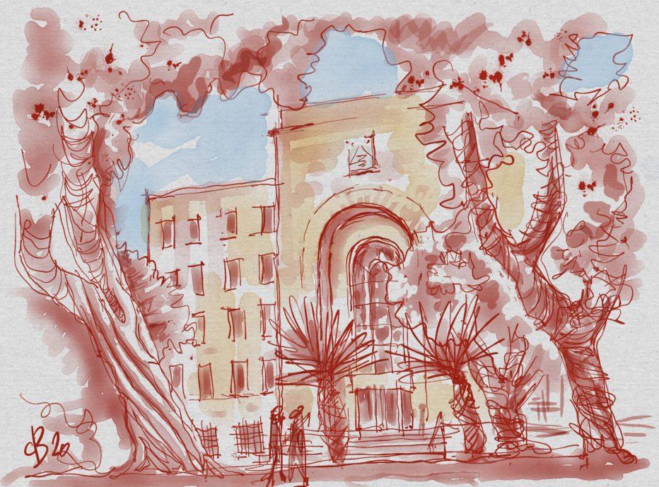 בניין העירייה באדום | איור: דוד בר און