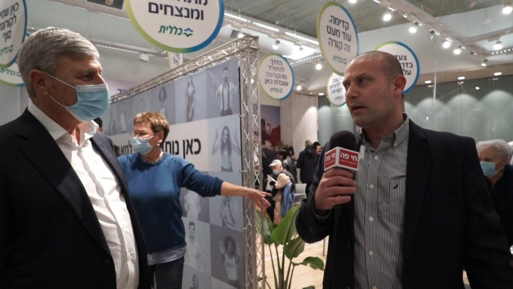 רונן נודלמן ויעקב פרץ - פתיחת מתחם חיסונים לקורונה בקניון שער הצפון (צילום: חי פה - תאגיד החדשות של חיפה והסביבה)