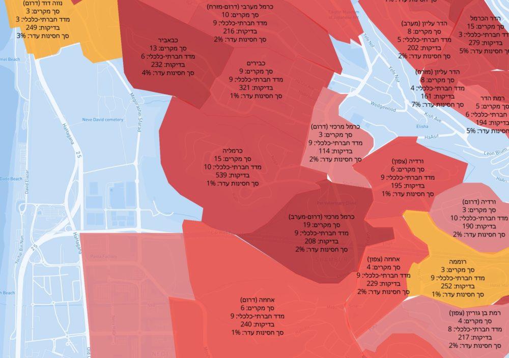 מרכז הכרמל אדום - מפת תחלואה בקורונה לפי שכונות בחיפה והסביבה – נתוני 24/12/20