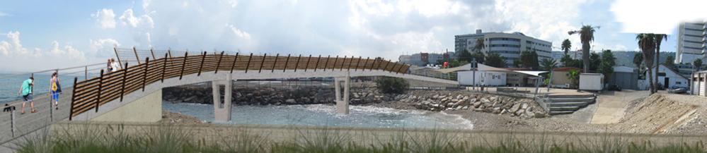 הדמיית הגשר מעל מפרצון חיל הים - טיילת חולדה בחיפה (הדמיה באדיבות עיריית חיפה)