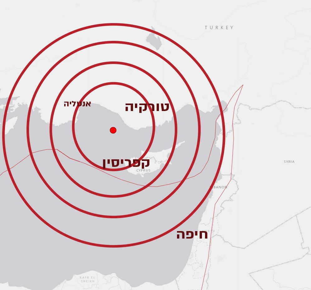 רעידת אדמה הורגשה היטב בחיפה | 5.3 בסולם ריכטר בים בין טורקיה לקפריסין