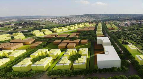 """תכנית בנייה רכסים (קרדיט: משרד האדריכלים עמוס ברנדייס - אדריכלות ותכנון עירוני ואזורי בע""""מ)"""