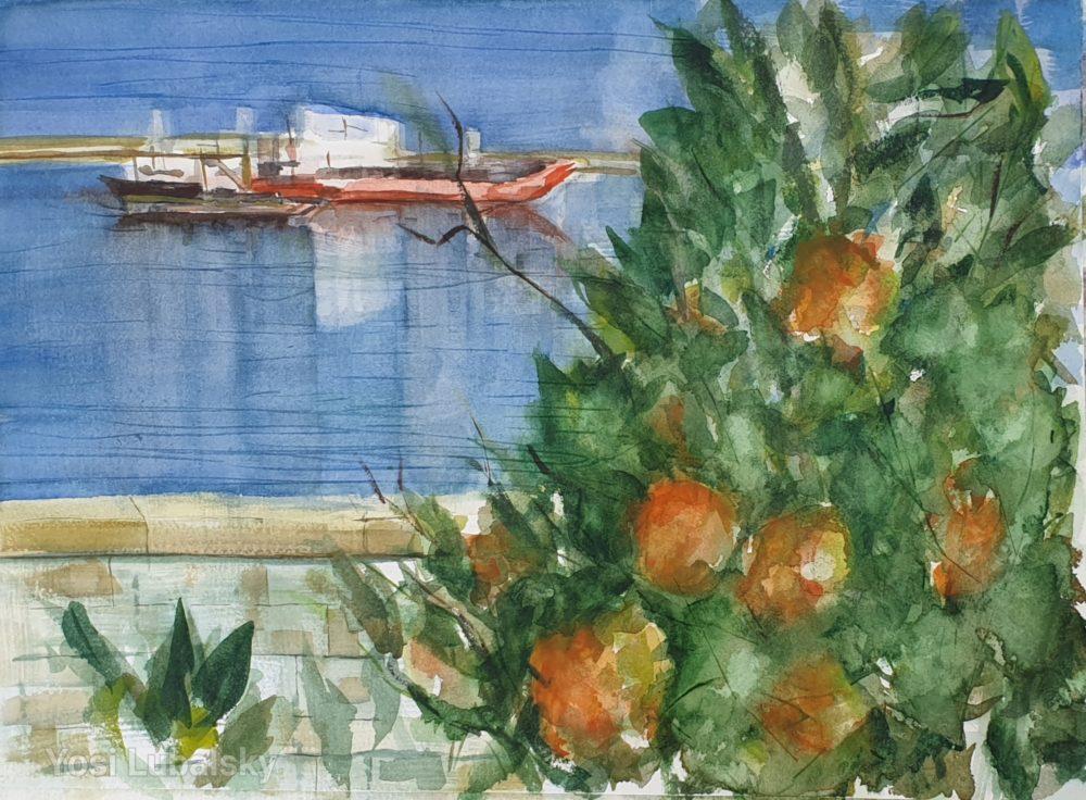 """מבט מרחוב יפה נוף (פנורמה) על הנמל ובצדו עץ פרי הדר """"בהאי"""", צבעי מים על נייר ארצ'ס 31/41 ס""""מ (ציור: יוסי לובלסקי)"""