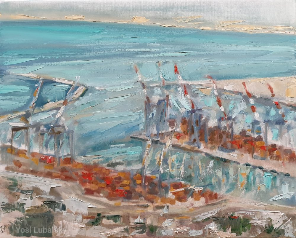 """נמל חיפה, שמן על בד 50/40 ס""""מ (ציור: יוסי לובלסקי)"""