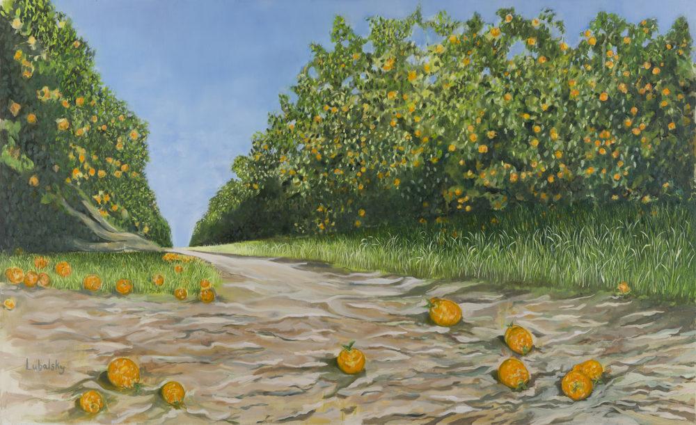 """שביל התפוזים, שמן על בד 180/110 ס""""מ (ציור: יוסי לובלסקי)"""