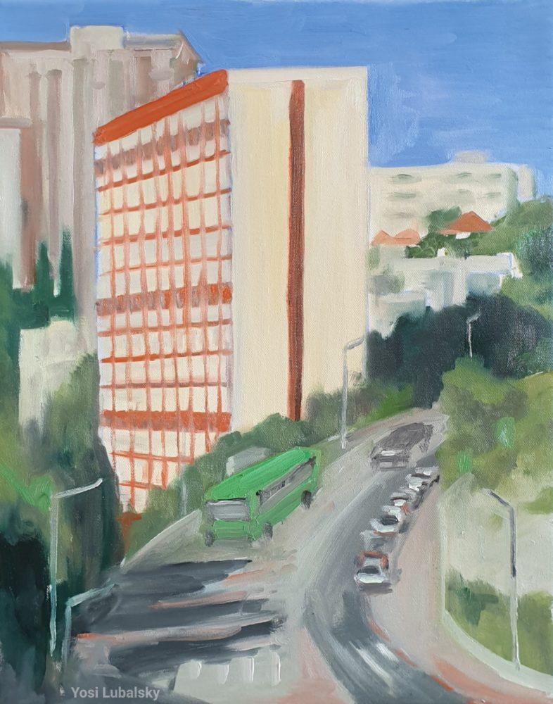 """ליאון בלום 2, קומפלקס דירות במפלסים • שמן על בד 50/40 ס""""מ (ציור: יוסי לובלסקי)"""